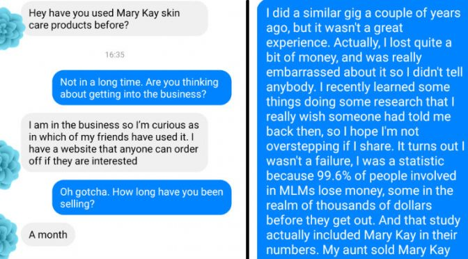 MLM Beauty Product Schemer Gets Educated By Helpful Friend's Facebook Messages