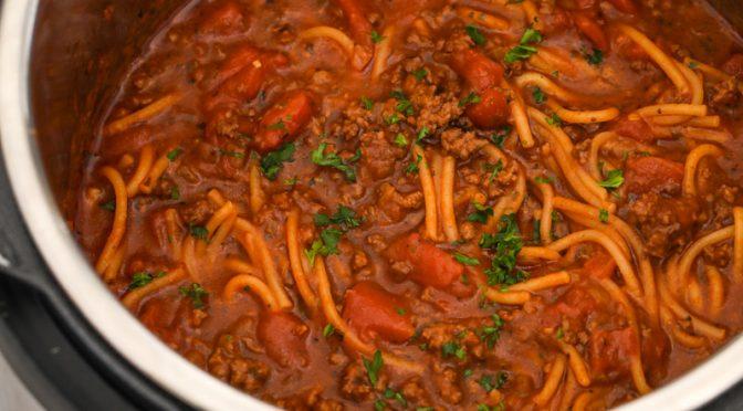 Instant Pot Spaghetti (including pasta!)